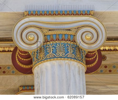 colorful classical Ionic column capital