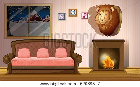 Illustration of a room with a lion wall decor