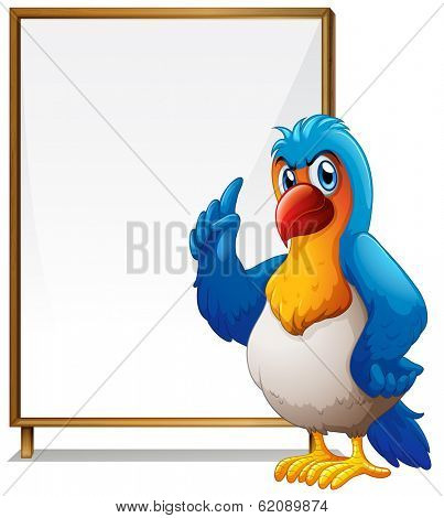 Illustration of a parrot in front of the empty signboard on a white background