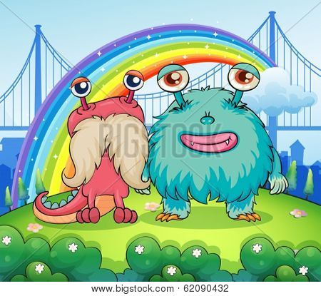 Illustration of the two weird monsters and a rainbow in the sky
