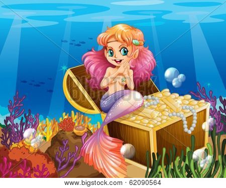 Illustration of a mermaid under the sea beside the treasures
