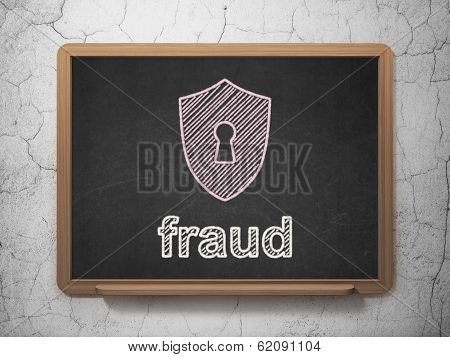 Protection concept: Shield With Keyhole and Fraud on chalkboard background