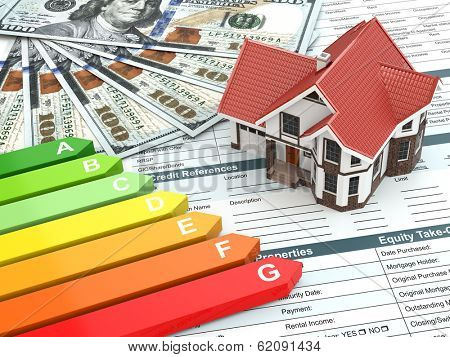House energy efficiency concept. Real estate, money and rating.