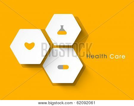 Abstract world heath day concept with sticker, tag or label on yellow background.