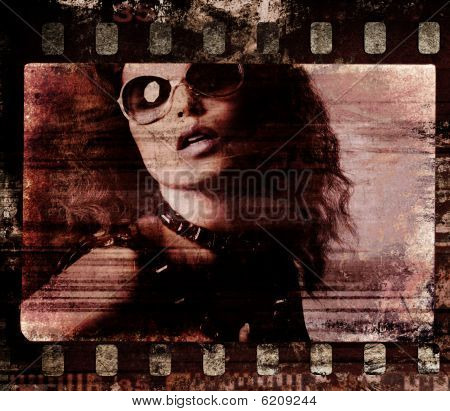 Grunge Film Frame. Retro Shot
