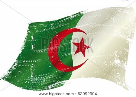 flag of Algeria in the wind with a texture
