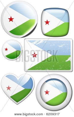 Djibouti - Set of stickers and buttons