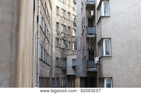 bottleneck between two urban buildings in Sofia, Bulgaria