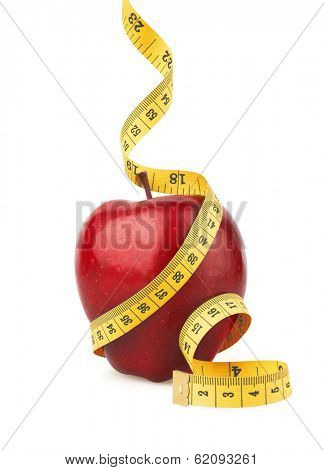 Red apple with yellow measuring tape, isolated on white