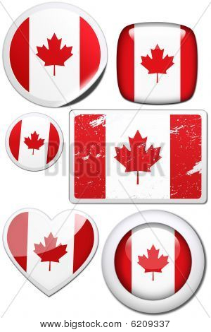 Canada - Set of stickers and buttons
