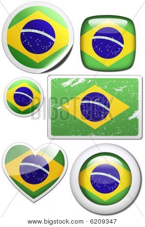Brazil - Set of stickers and buttons