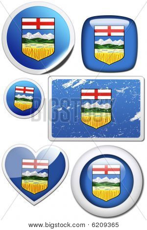 Alberta (Canada) - Set of stickers and buttons