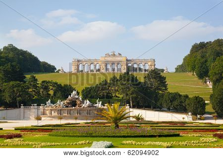 View on Gloriette structure and Neptune fountain