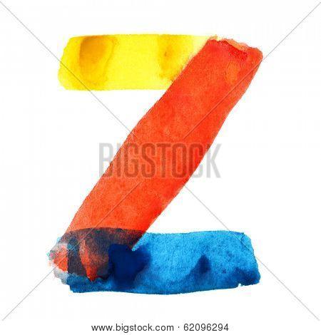 Letter Z - colorful watercolor alphabet