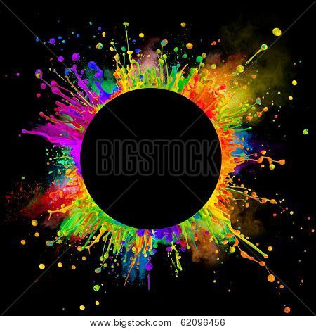 "Super macro shot of colored paint splashes and powder ""dancing"" on sound waves. In rounded shape with free space for text. Isolated on black background"