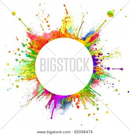 "Super macro shot of colored paint splashes and powder ""dancing"" on sound waves. In rounded shape with free space for text. Isolated on white background"