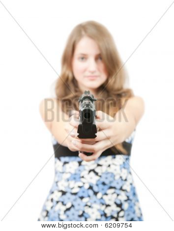 Girl With Gun. Focus On Gun Only