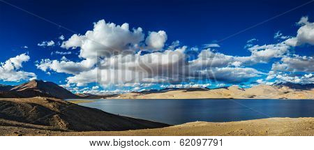 Panorama of Himalayan lake Tso Moriri in Himalayas on sunset, Korzok, Ladakh, India
