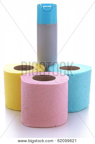 Colorful toilet paper rolls and air fresher, isolated on white