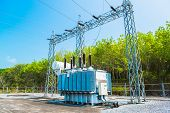 stock photo of substation  - Transformer station and the high voltage electric pole - JPG