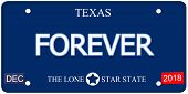 stock photo of texas star  - A fake imitation Texas License Plate with the word FOREVER and The Lone Star State making a great concept - JPG