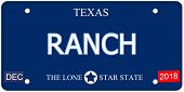 stock photo of texas star  - A fake imitation Texas License Plate with the word RANCH and The Lone Star State making a great concept - JPG