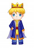 foto of chibi  - Cute cartoon illustration of a king isolated on white - JPG