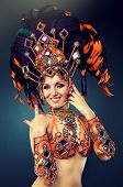pic of belly-dance  - A dancing girl in the carnival costume. 