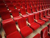 pic of cinema auditorium  - red cinema or theatre empty seats - JPG