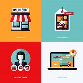 picture of electronic commerce  - Flat vector design with e - JPG