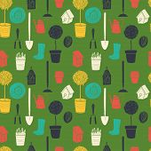 foto of spade  - Garden seamless pattern with watering can - JPG