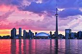 image of urbanisation  - Scenic view at Toronto city waterfront skyline at sunset - JPG