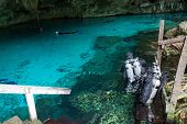 foto of cenote  - Sub are preparing for diving in a cenote Mexico