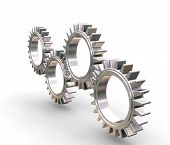 image of gear wheels  - 3D render of interlocking gears - JPG