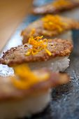 picture of liver fry  - Japanese style sushi fried goose liver macro closeup - JPG