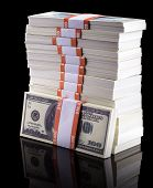 picture of 100 dollars dollar bill american paper money cash stack  - stack of dollars isolated on a black background - JPG