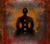 stock photo of padmasana  - Yoga lotus man in pose - JPG