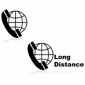 picture of long distance  - Icons showing a telephone in front of a globe indicating long distance calls - JPG