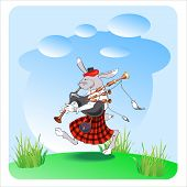 stock photo of bagpiper  - rabbit with bagpipes vector illustranion - JPG