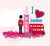 image of beefeater  - grunge frame with icons of London  - JPG