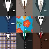 stock photo of tuxedo  - Business decorative icons set of classic modern dude hipster tuxedo suits with ties bows and one aloha shirt vector illustration - JPG