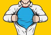 pic of emblem  - Disguised comic book superhero adult man under cover opening his shirt template vector illustration - JPG