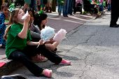 Kids Eat Cotton Candy At Parade
