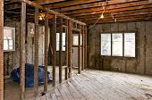 picture of rafters  - Interior of a house under gut renovation at construction site - JPG