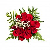 Bouquet of a dozen red roses from above on white background