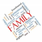stock photo of niece  - Family Word Cloud Concept angled with great terms such as loving parents home and more - JPG