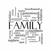 pic of niece  - Family Word Cloud Concept in black and white with great terms such as loving parents home and more - JPG
