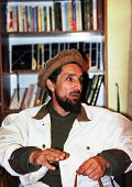 KABUL, AFGHANISTAN - OCT 20: Famed Mujaheddin fighter Ahmad Shah Massoud speaks to journalists in hi