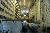 BAIKONUR COSMODROME - OCTOBER 29:  The interior of the vehicle assembly building housing Russia's Bu