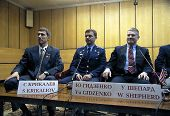 BAIKONUR COSMODROME - OCTOBER 31: Atronauts  Cmdr. William Shepherd, Lt. Col. Yuri Gidzenko and Serg
